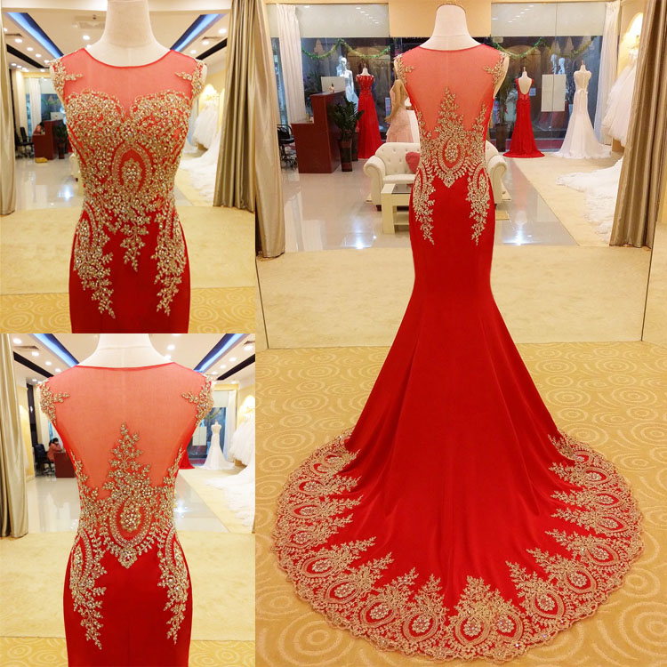 2018 Red Lace Prom Dresses Affordable