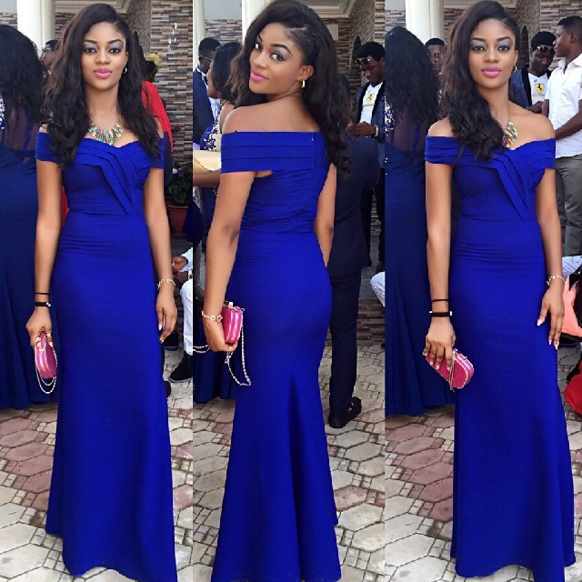 Royal Blue Wedding Guest Dress Sheath Off Shoulder Evening Gowns on ...