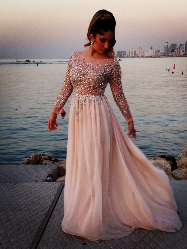 Light Pale Pink Prom Dresses,Beaded Prom Gowns,Pink Prom Dresses  2018,Chiffon Party Dresses Kb20184163