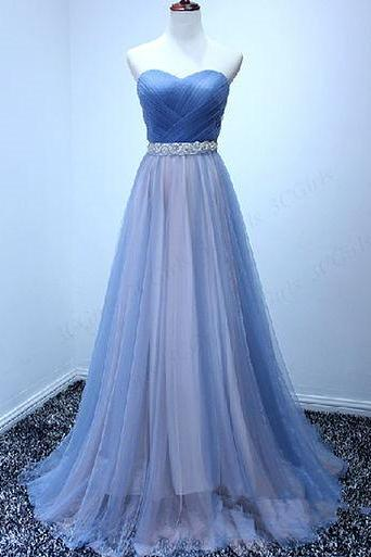 Beautiful Tulle Handmade Sweetheart Long Prom Dress, Prom Gowns