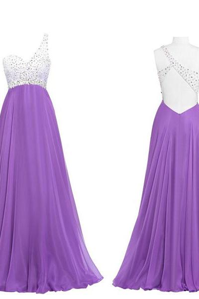 Prom Gown,Lilac Prom Dresses,One Shoulder Evening Gowns,Simple Formal Dresses kb20183369