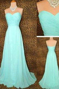 Bridesmaid Gown,Pretty Blue Prom Dresses,Chiffon Prom Gown, Simple Bridesmaid Dress kb20183422