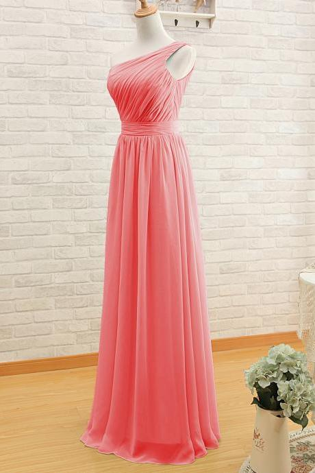 One Shoulder Bridesmaid Gown,Pretty Prom Dresses,Chiffon Prom Gown,Simple Bridesmaid Dress kb20183446
