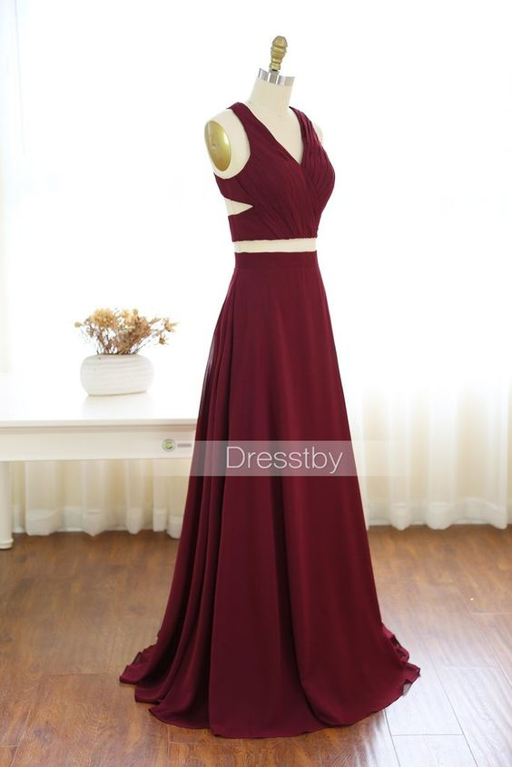 aed23a2996f Gorgeous Wine Red 2 Pieces Prom Dresses Long Sexy Evening Gowns ...
